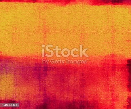 Red and Orange abstract watercolor painting on textured paper with copy space.