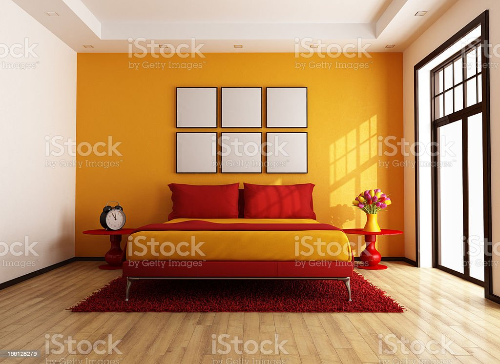 Red and orange contemporary bedroom royalty-free stock photo