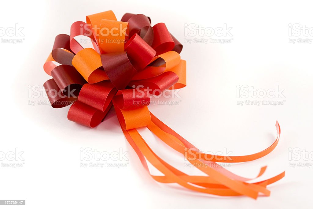 Red and Orange Gift Bow royalty-free stock photo