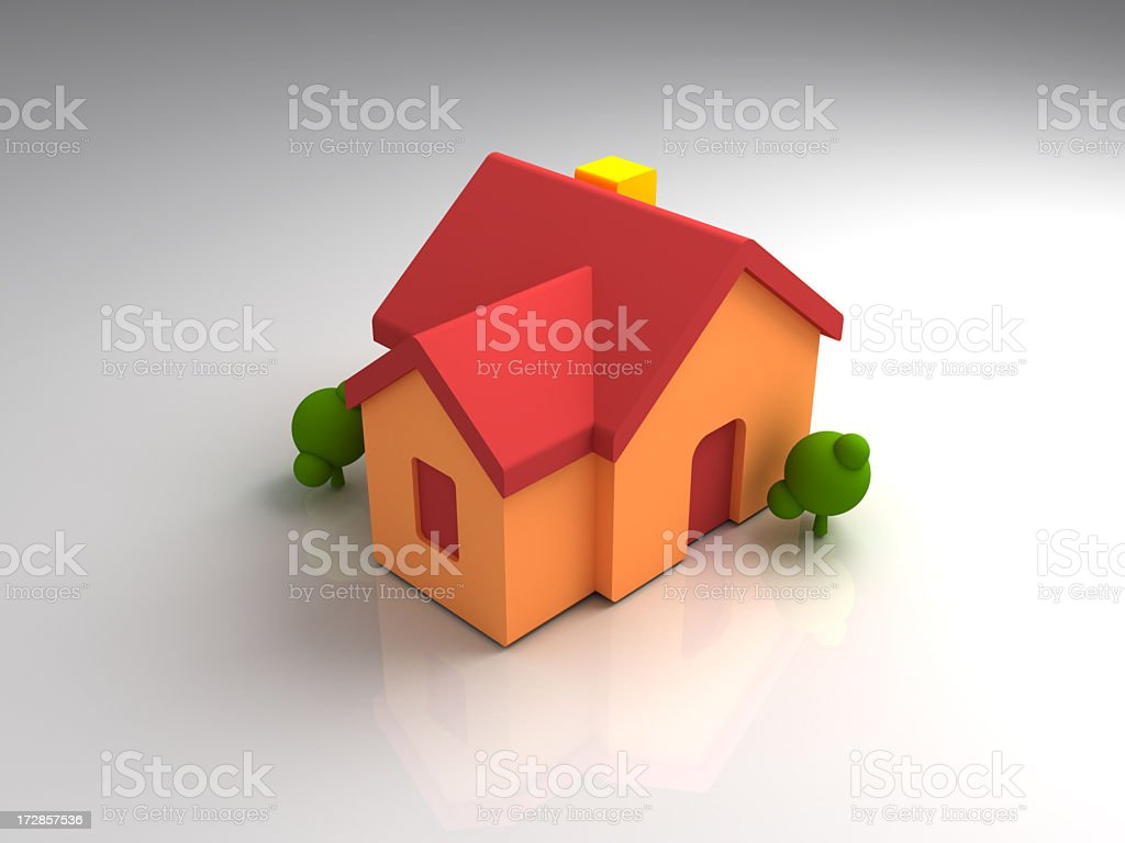 Red and orange house model with tree royalty-free stock photo