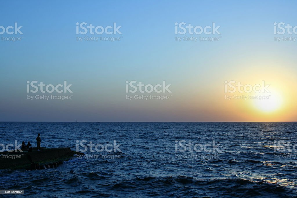 Red and orange sunset over the Sea. royalty-free stock photo