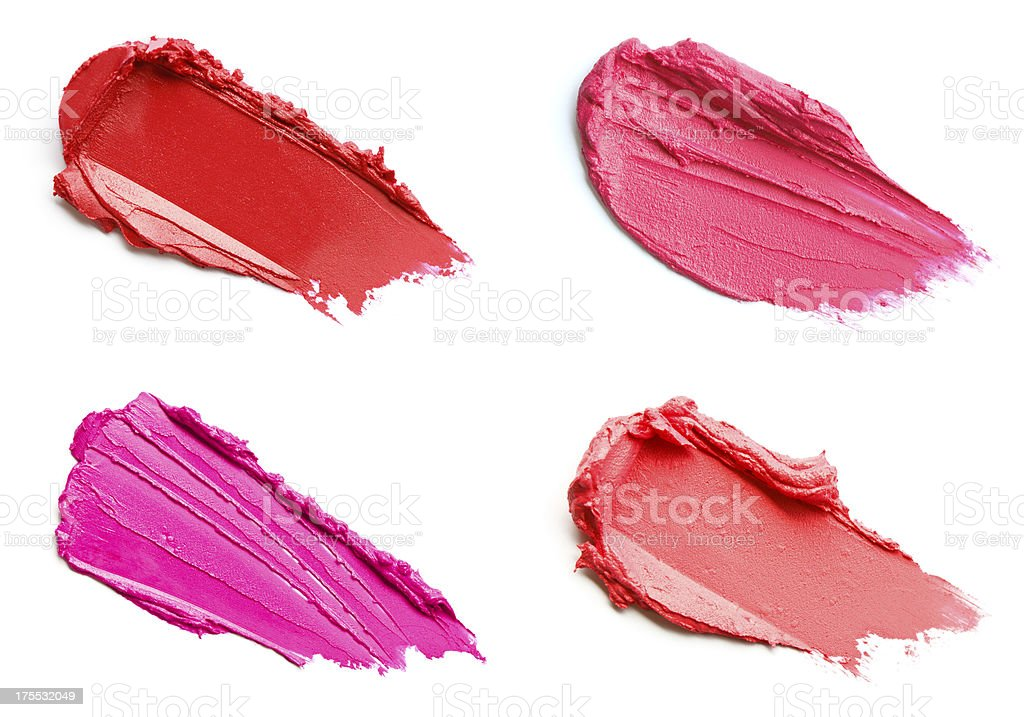 Red and pink lipstick smears stock photo