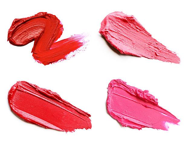 red and pink lipstick smears - bevlekt stockfoto's en -beelden