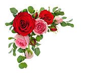 istock Red and pink rose flowers with eucalyptus leaves in a corner arrangement 928473106