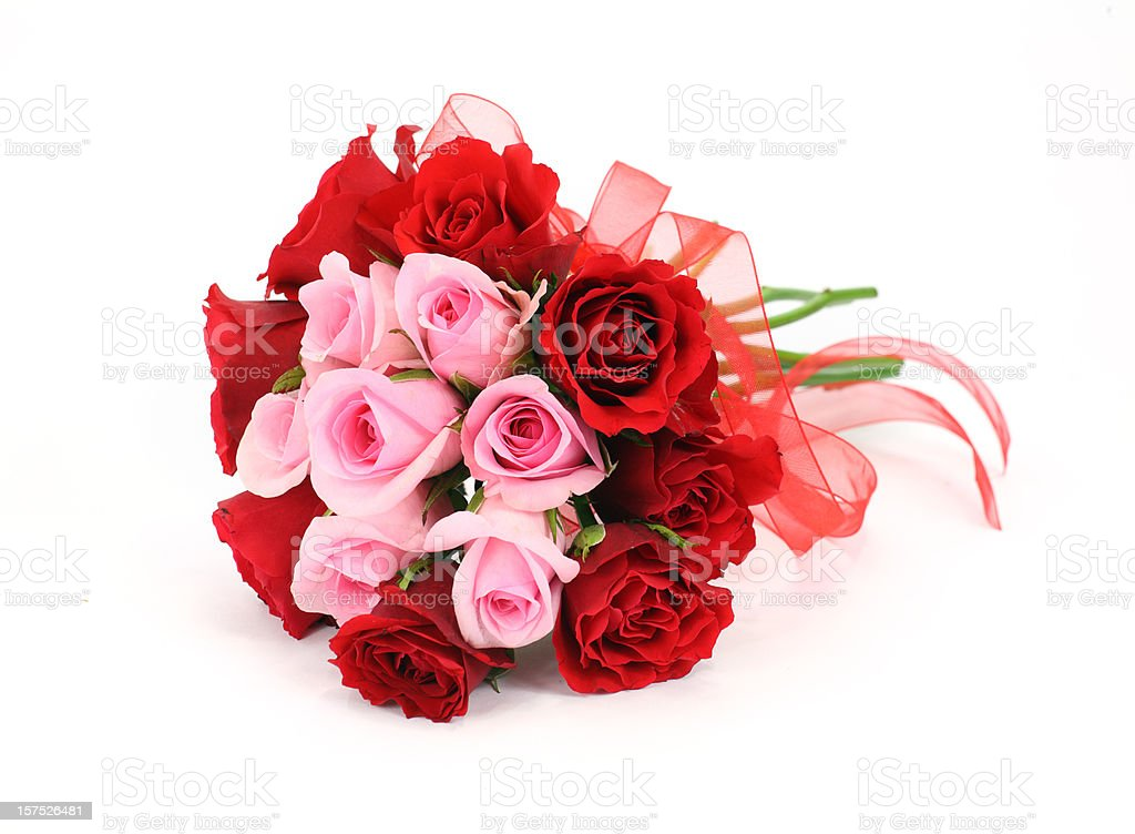 Red And Pink Rose Wedding Or Valentines Flower Bouquet Stock Photo ...