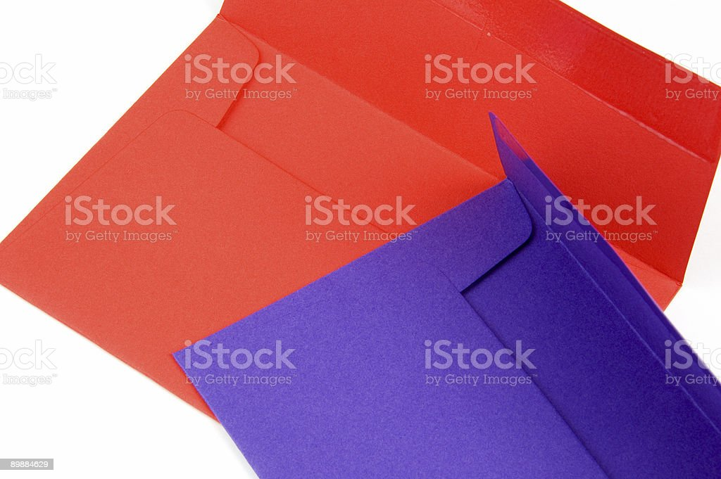 Red and Purlpe open envelopes royalty-free stock photo