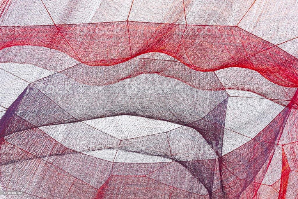 Rote und violette Netze unter die Ski. Strukturierten Hintergrund. – Foto