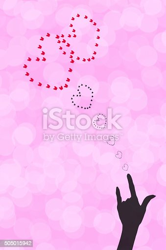 Red and silhouette butterfly heart with hand for Valentine Day