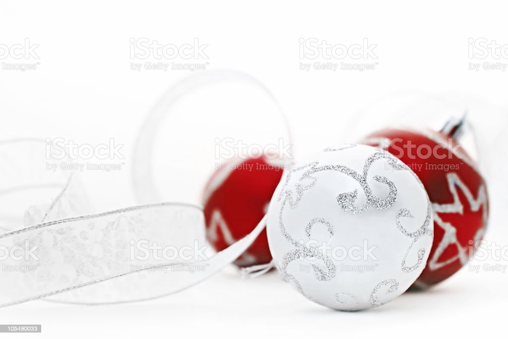 Red and Silver Baubles stock photo