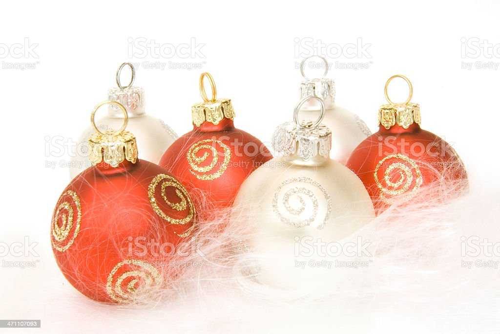 Red and silver baubles royalty-free stock photo