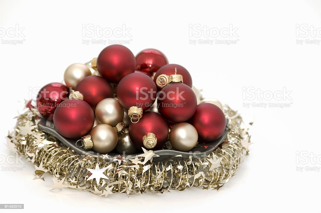 Red and Silver Christmas Ornaments royalty-free stock photo