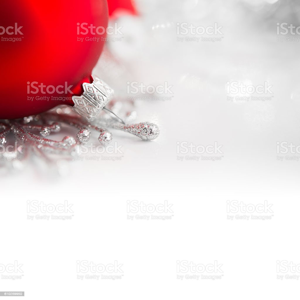 Red And Silver Xmas Ornaments On Bright Holiday Background Royalty Free Stock Photo