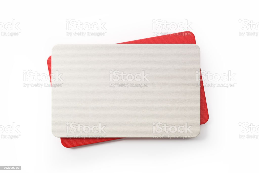 Red And Whit Gift Cards On White Background stock photo