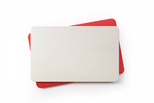 Red And Whit Gift Cards On White Background Red and white gift cards on white background. Horizontal composition with clipping path and copy space. gift card stock pictures, royalty-free photos & images