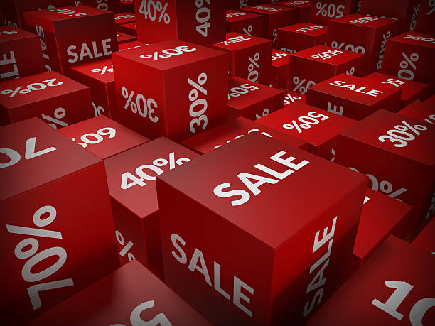 Red and white 3D cubes saying sale  Red cubes with the words sale,and differente amount of percentage stamped on them salé morocco stock pictures, royalty-free photos & images