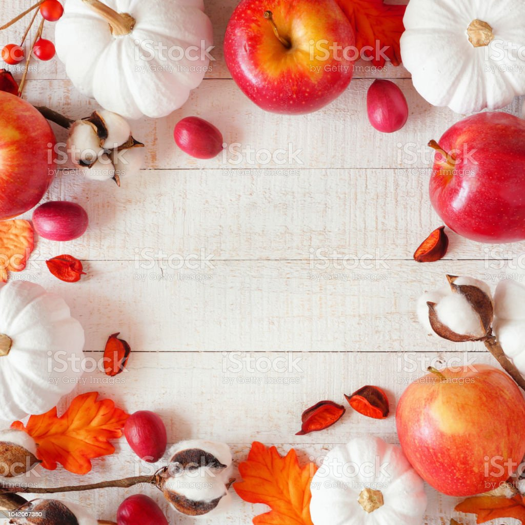 Red and white autumn square frame with apples & pumpkins on white wood stock photo
