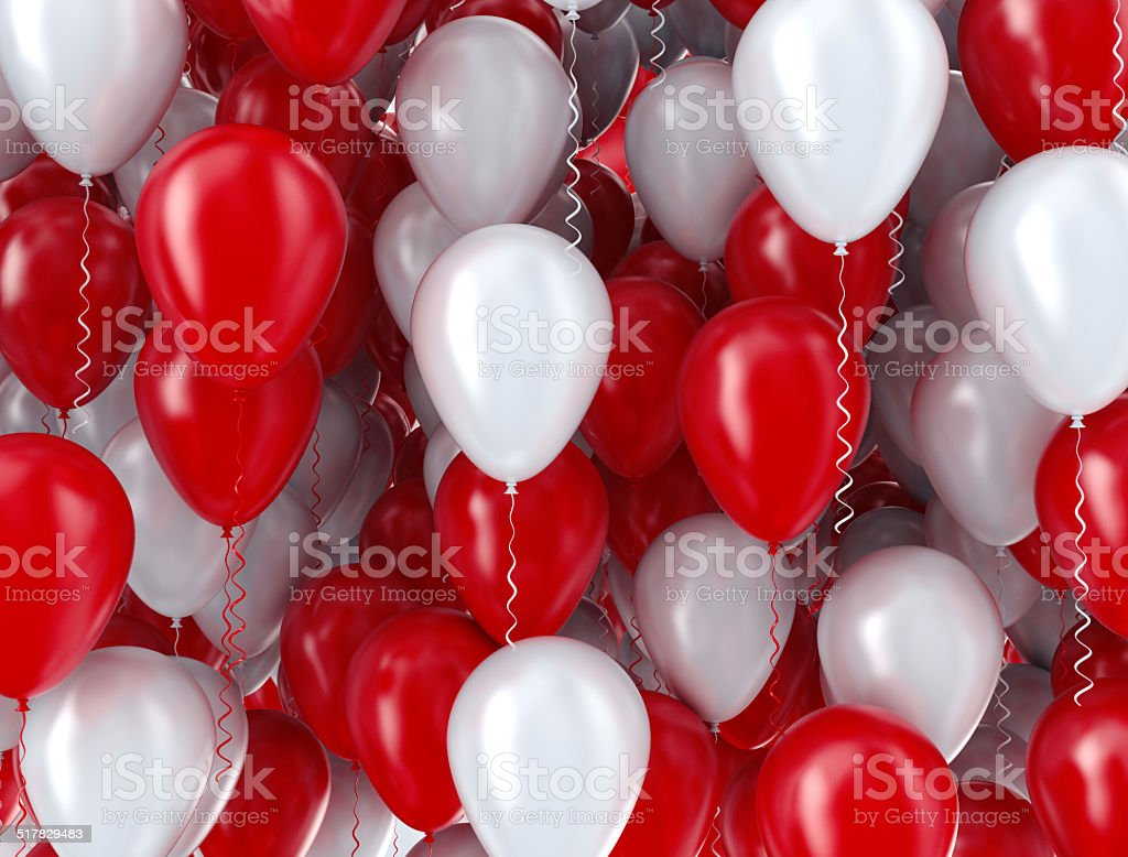 Red and white balloons background stock photo
