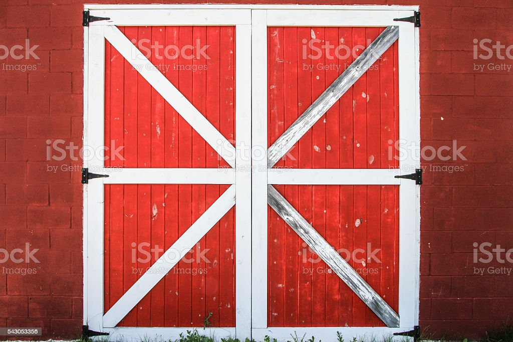 Red And White Barn Door stock photo
