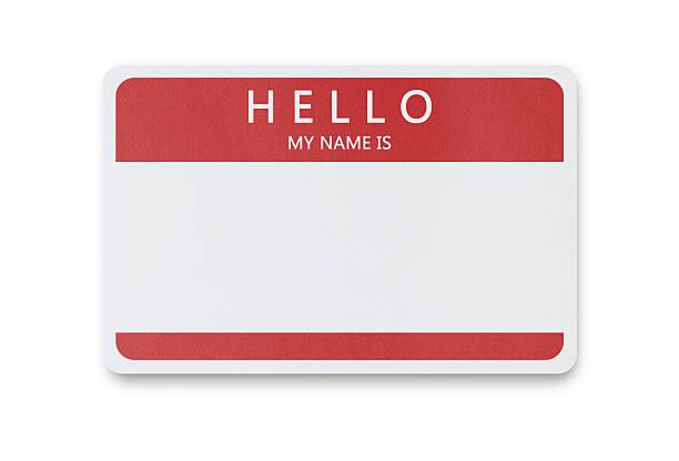 leere namensschild - hello stock-fotos und bilder