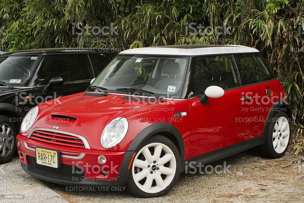 Red and white BMW Mini Cooper stock photo
