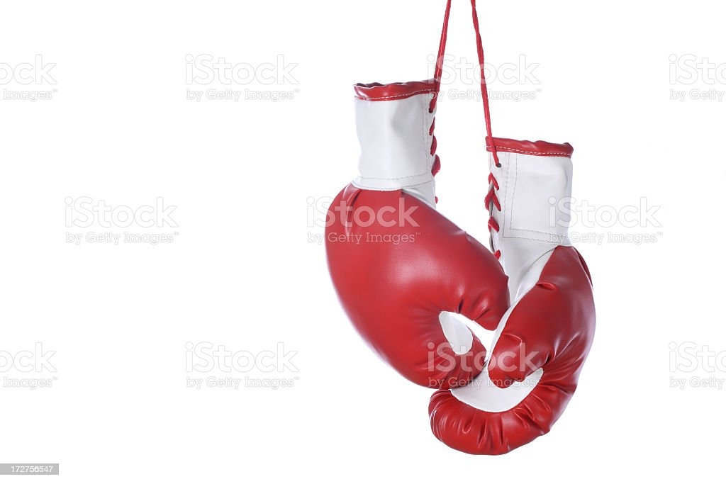 Red and white boxing gloves isolated on a white background royalty-free stock photo