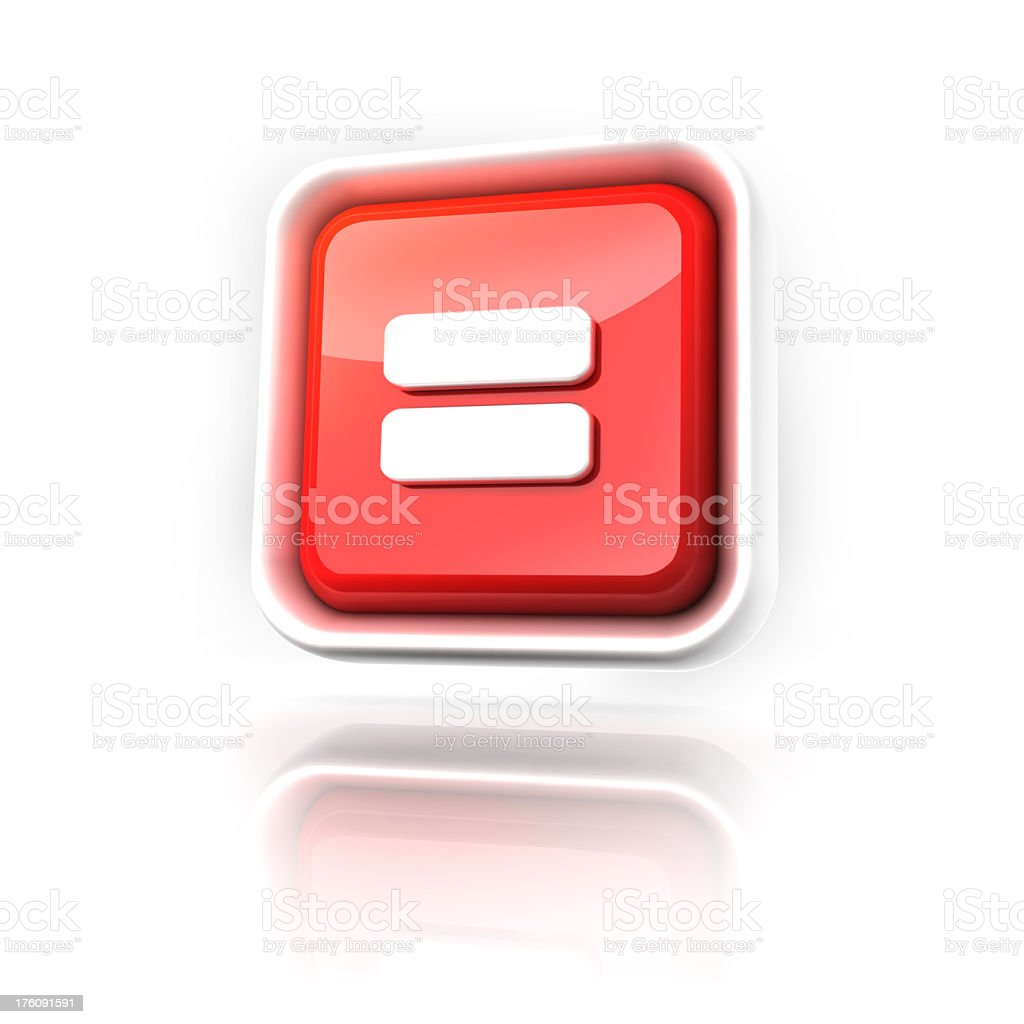 Red and white button with equals sign floating stock photo