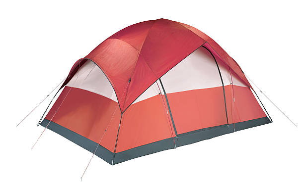 Red and white camping tent pitched to the ground red tent tent stock pictures, royalty-free photos & images