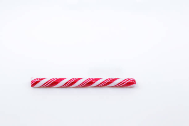 Red and White candy cane Christmas decorations, concept of Holidays loading. Christmas composition. Christmas, winter, new year concept. Flat lay, top view, copy space. stock photo
