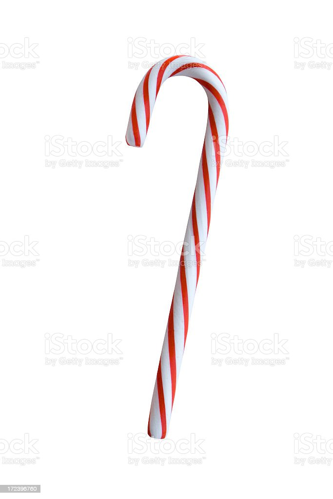 Red and white candy cane on a white background stock photo