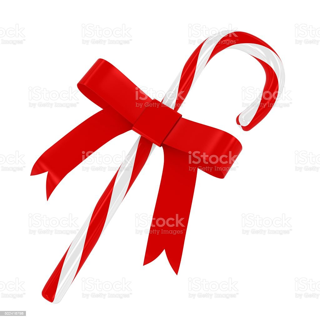 Red and White Candy Cane with Red Ribbon Isolated stock photo