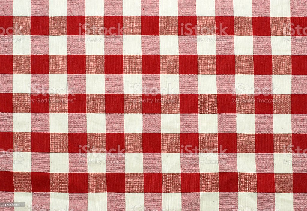 Red and white checked fabric texture stock photo