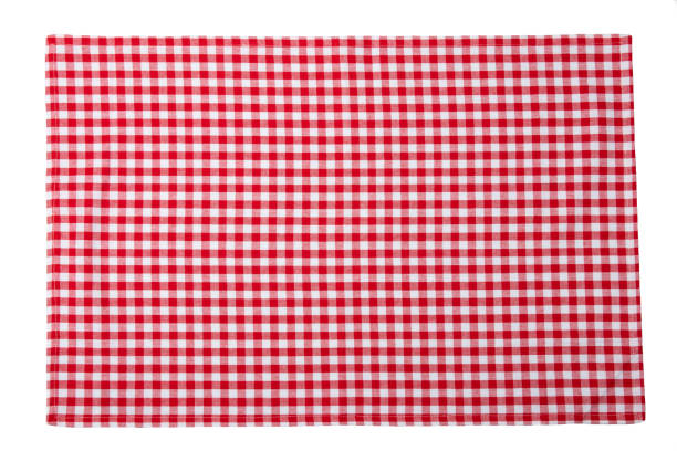 Red and white checkered napkin isolated on white background. Red and white checkered napkin isolated on white background. plaid stock pictures, royalty-free photos & images