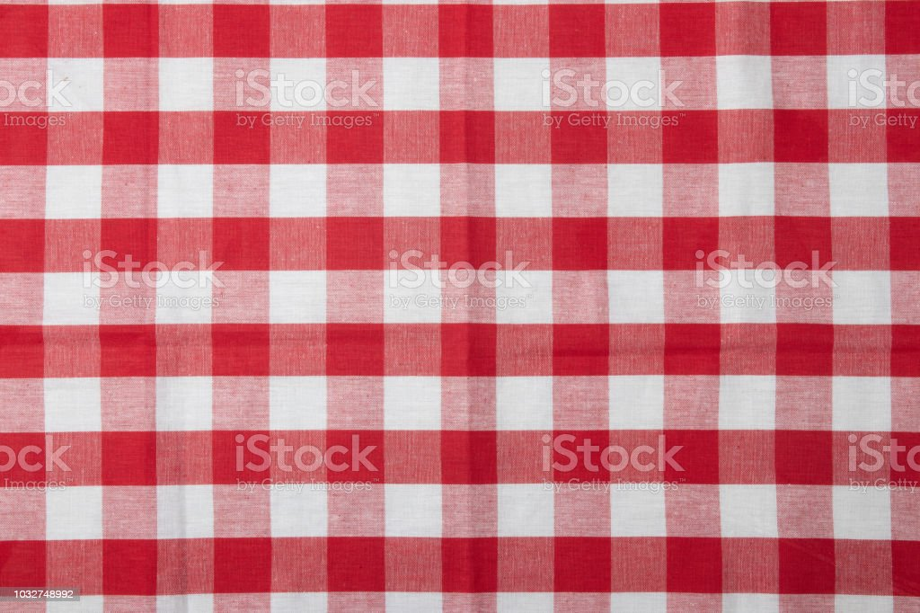 Red And White Checkered Napkin Kitchen Accessories Stock Photo