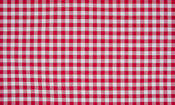 Red and white checkered tablecloth stock photo