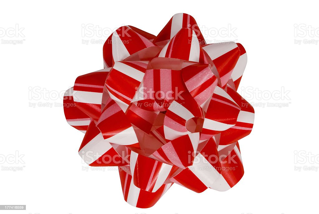 Red and White Christmas Bow stock photo