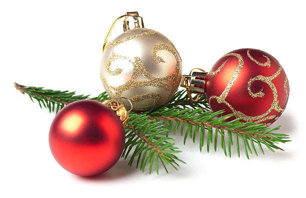 red and white christmas bulbs and tree branch - christmas decoration stock pictures, royalty-free photos & images
