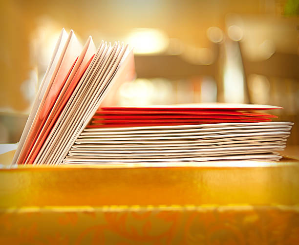 Red and white Christmas cards stacked stock photo