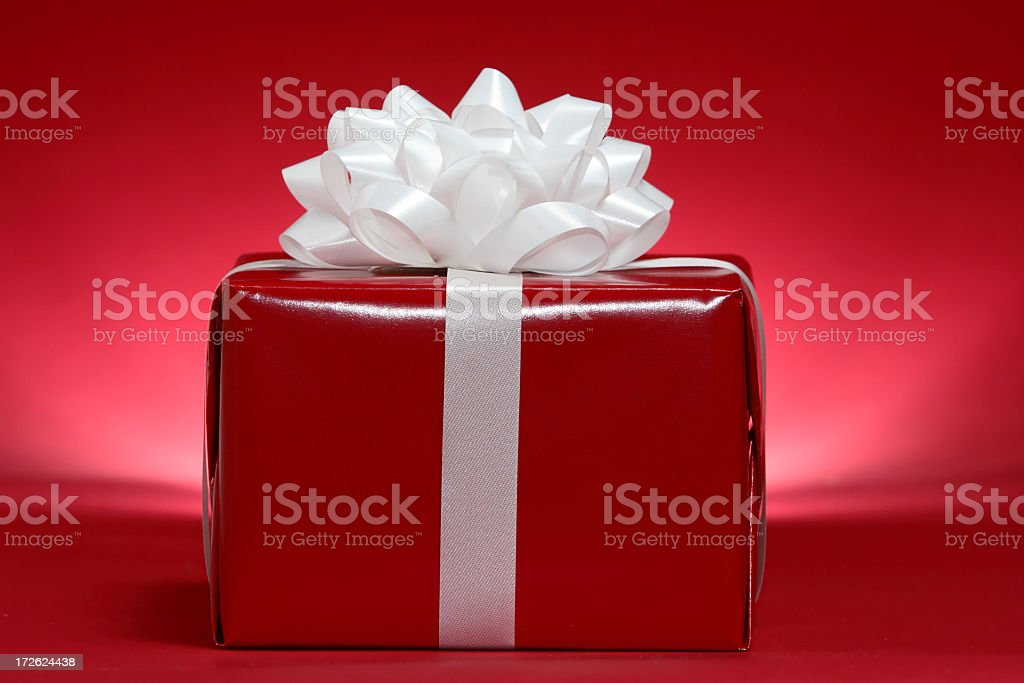 Red and White Christmas Present royalty-free stock photo