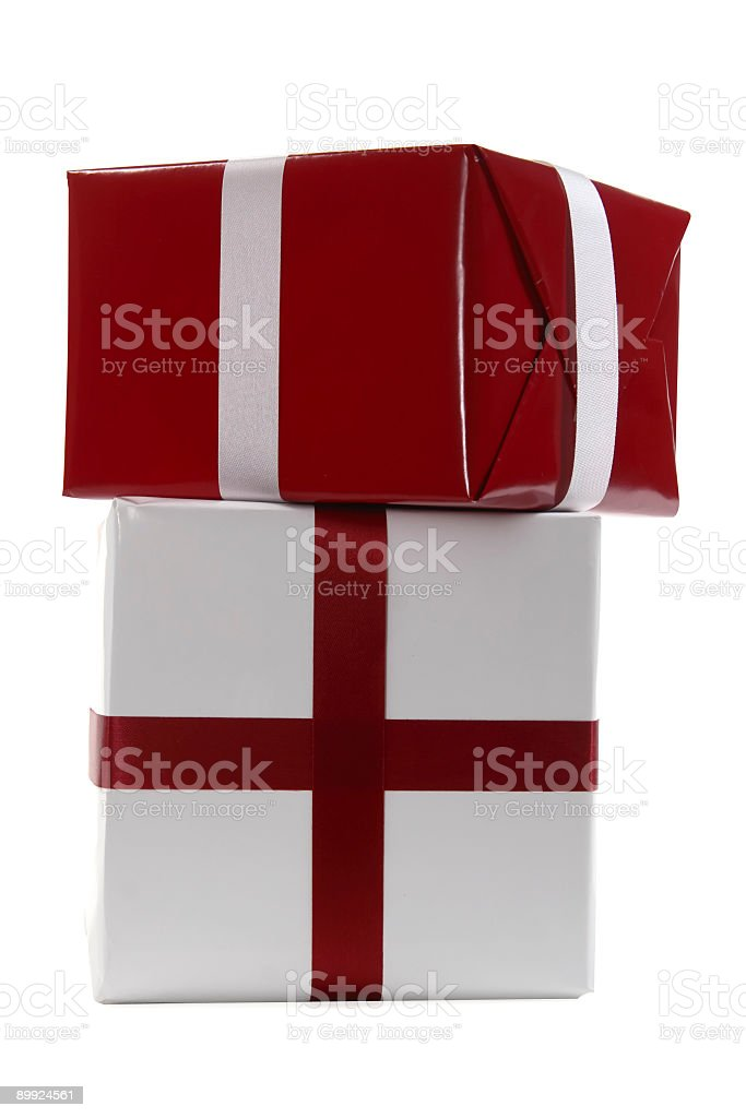 Red and White Christmas Presents with Clipping Path royalty-free stock photo