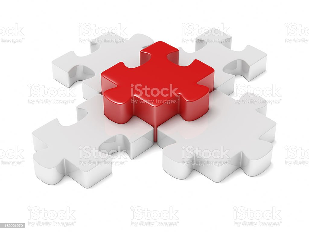 Red and white chunky jigsaw puzzle pieces royalty-free stock photo