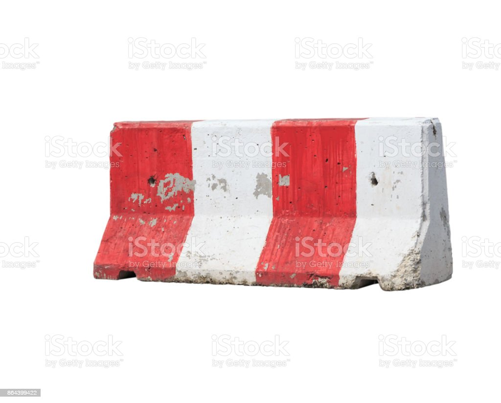 Red and white concrete barrier isolated stock photo