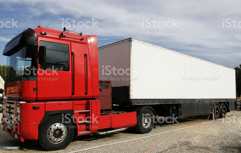 Red and white container stock photo