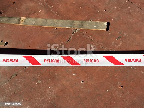 istock Red and white cordon tape 1166439630