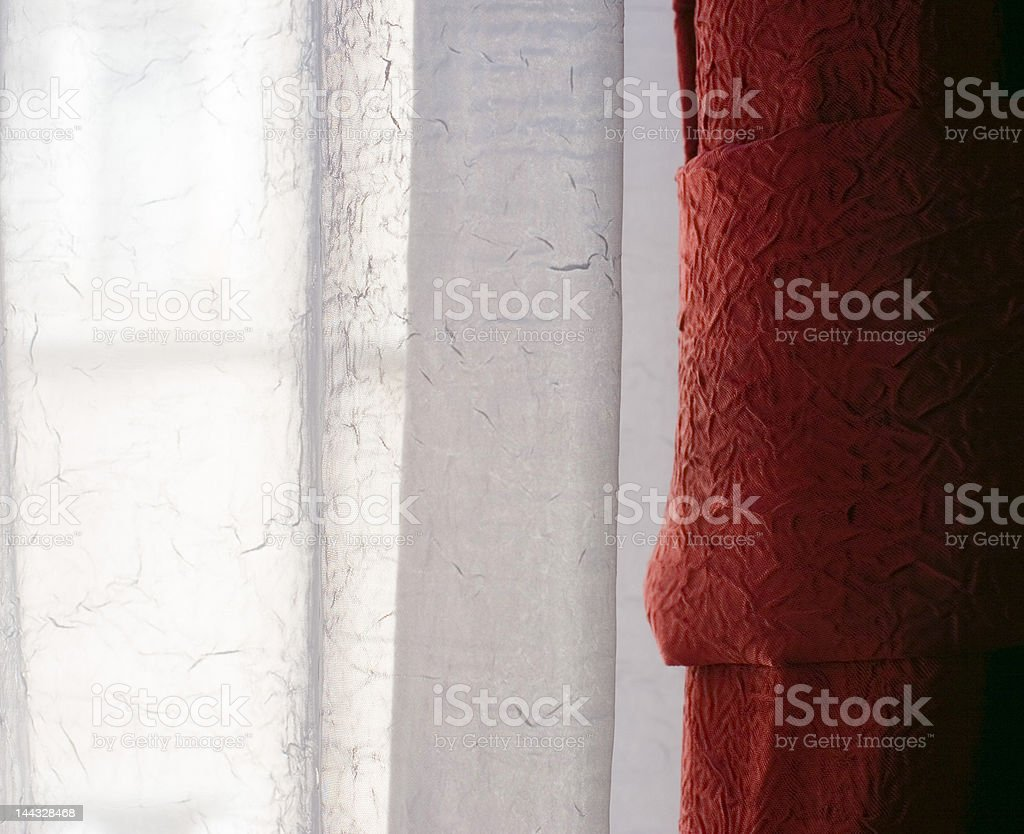 red and white curtain stock photo