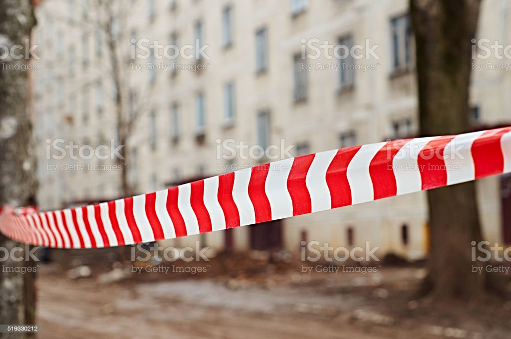 Red and white danger tape stock photo