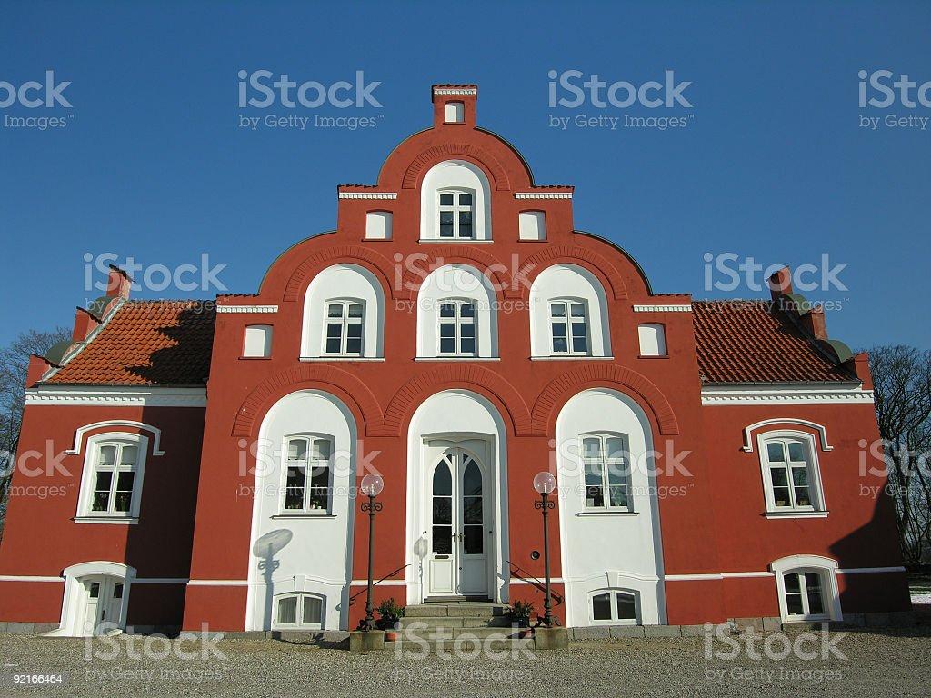 Red and white Danish museum stock photo