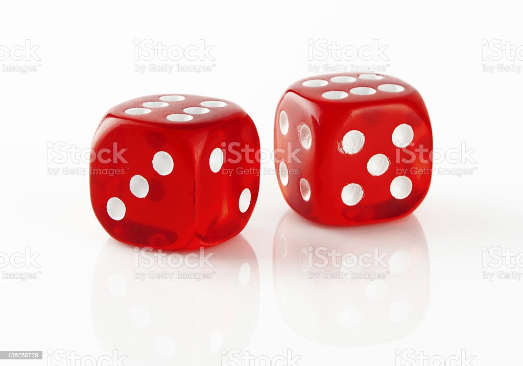 Red and white dices royalty-free stock photo