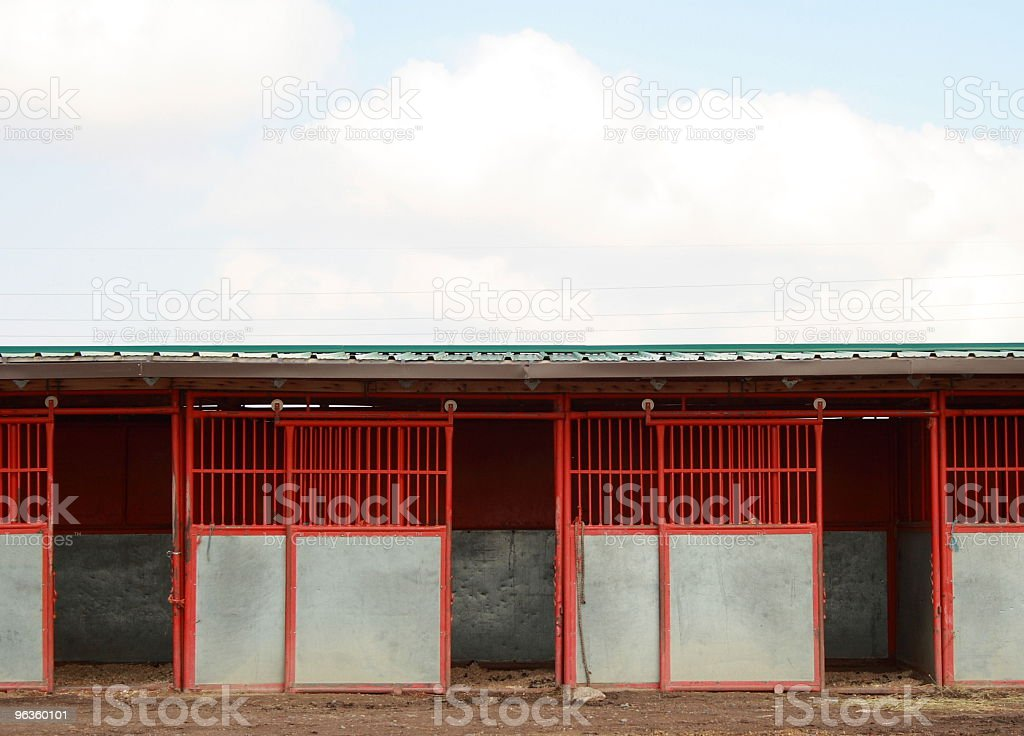 red and white empty horse stalls with doors open stock photo