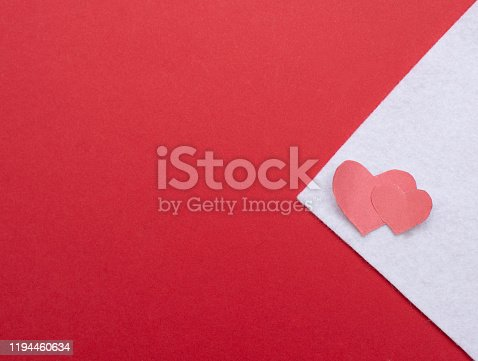 red and white envelope with hearts with copy space