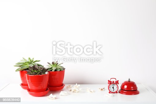 518847146istockphoto Red and white frame poster with plant in pot on table. 955828440